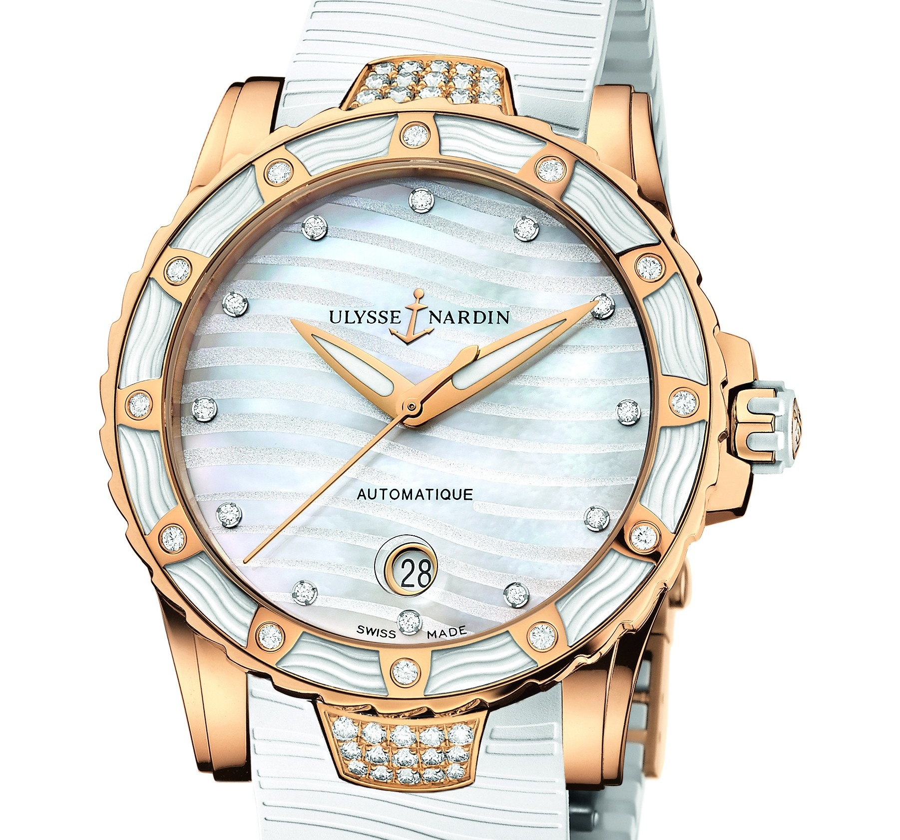 Mother-of-pearl dial. 18 ct rose gold.